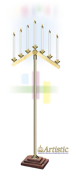 Candelabra 7 Light Inverted V Arms Brass (Pair)
