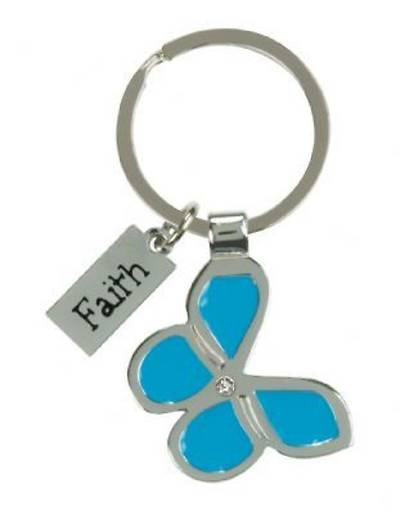Faith Butterfly Metal Key Ring