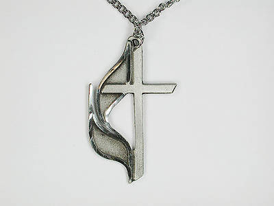 United Methodist Cross & Flame Pewter Necklace 27 Inches