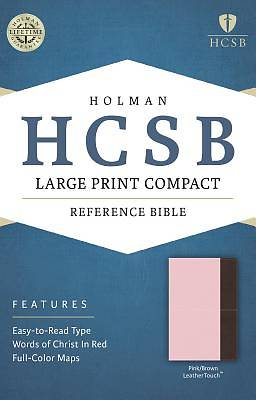 HCSB Large Print Compact Bible, Pink/Brown Leathertouch