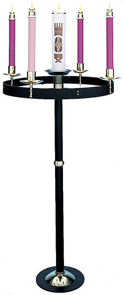 Advent Wreath, Floor Model Black Steel Solid Brass