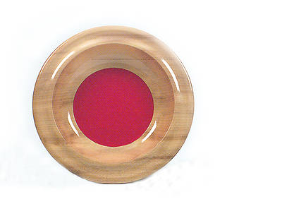 "Myrtlewood Offering Plate, Smooth Rim With Red Mat, 12"" diameter"