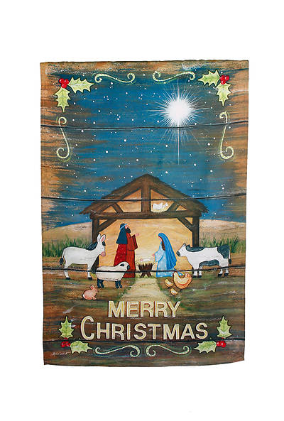 Merry Christmas Nativity Garden Suede Flag