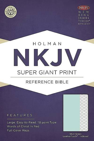 Picture of NKJV Super Giant Print Reference Bible, Mint Green Leathertouch, Indexed