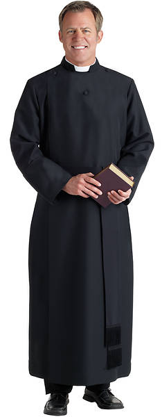 "Picture of H-96 Anglican Cassock Qwick-Ship Black 40""-43"" 5' 8""-5' 10"" 33"""