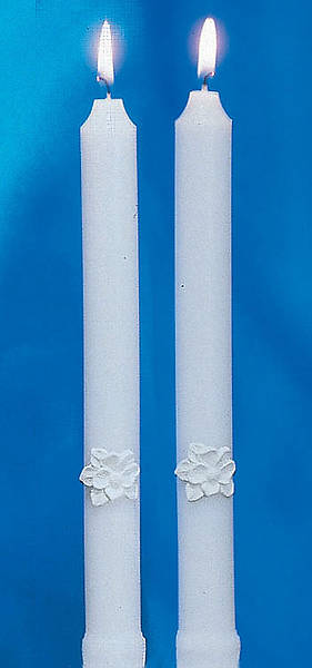 Holy Matrimony Side Candles - White (Pair)