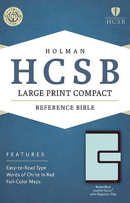 HCSB Large Print Compact Bible, Brown/Blue Leathertouch with Magnetic Flap