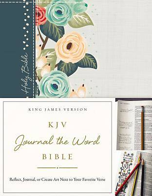KJV, Journal the Word Bible, Hardcover, Green Floral Cloth