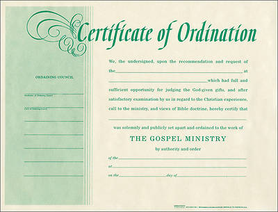 Picture of Certificate Of Ordination Package of 6