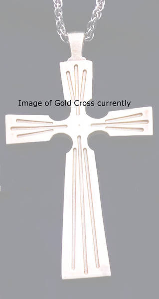 "Picture of Three Clergy Cross, gold-plated, with 30"" Chain"