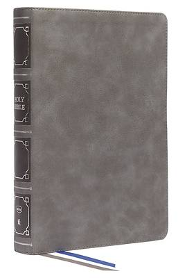 Picture of Nkjv, Reference Bible, Classic Verse-By-Verse, Center-Column, Leathersoft, Gray, Red Letter, Thumb Indexed, Comfort Print