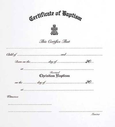 Picture of Presbyterian Children's  Baptism Certificate