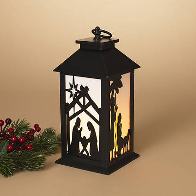 Lighted Nativity Lantern