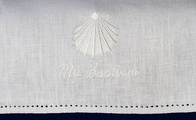 Baptismal Napkin with Shell and My Baptism