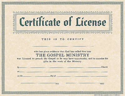Picture of Certificate License for Minister