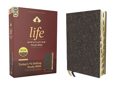 Picture of Niv, Life Application Study Bible, Third Edition, Bonded Leather, Navy Floral, Red Letter, Thumb Indexed