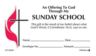 Sunday School UMC Offering Envelope Bulk Regular (Package of 500)
