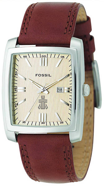 Fossil Classic Genuine Leather Mens Dress Watch with PCUSA Logo