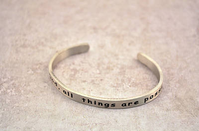 Genuine Pewter Bracelet - With God, All Things Are Possible