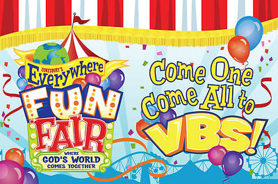 Vacation Bible School 2013 Everywhere Fun Fair Pkg 25 Invitation Postcard VBS