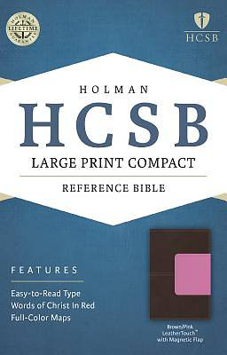 HCSB Large Print Compact Bible, Brown/Pink Leathertouch with Magnetic Flap