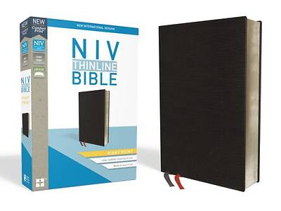 NIV, Thinline Bible, Giant Print, Bonded Leather, Black, Indexed, Red Letter Edition