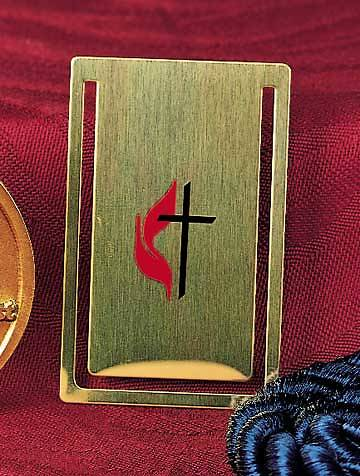 Cross and Flame Brass Bookmark With Envelope