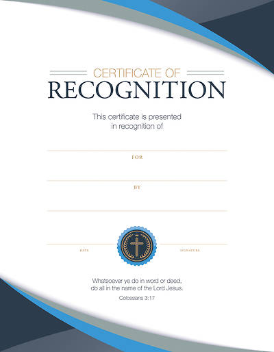 Recognition Certificate - Col 3:17 Pkg of 6
