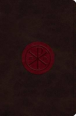 ESV Verse-By-Verse Reference Bible (Trutone, Walnut/Burgundy, Chi-Rho Emblem Design)
