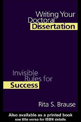Writing Your Doctoral Dissertation [Adobe Ebook]