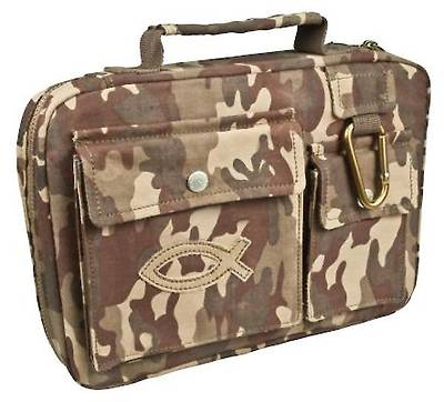 Camouflage with Fish Emblem Medium Bible Cover
