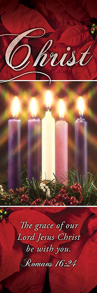 Picture of Christ Advent Wreath 2' X 6' Fabric Banner