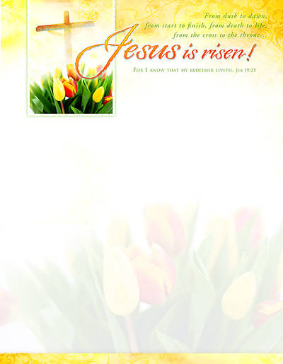 Easter Jesus Is Risen Tulip Letterhead (Package of 100)