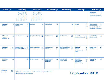 Parish Wall Calendar 2011-2012
