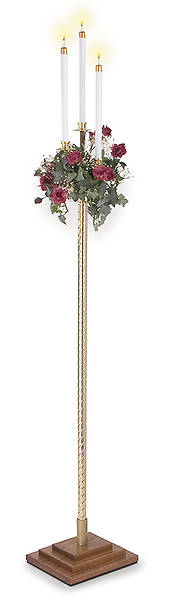 Three Light Pew Candle-Stick with Rope Style Solid Brass Pole