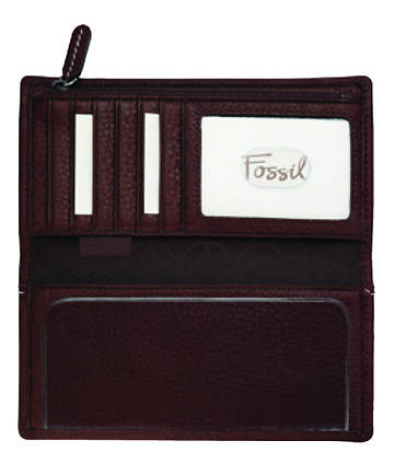 Fossil Genuine Leather Womens Checkbook Cover with UMC Logo
