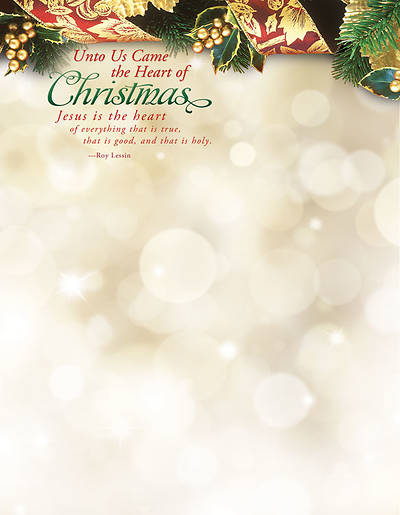 Christmas Letterhead - Unto Us Came the Heart of Christmas (Package of 100)