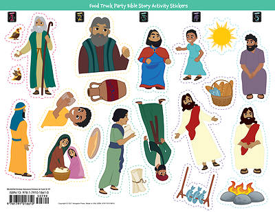 Picture of Vacation Bible School (VBS) Food Truck Party Bible Story Activity Stickers (Pkg of 6)