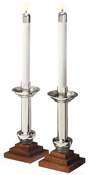 PAIR ANGEL ALTAR CANDLESTICKS WITH SATIN FINISH & WALNUT BASE