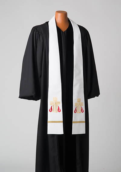 White Presbyterian Liberty With Gold Braid Stole