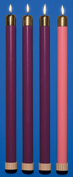 Advent Wreath Tube Candle Set - 3 Purple, 1 Rose