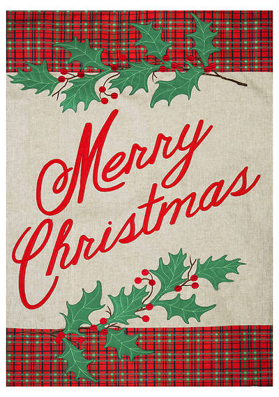 Picture of Merry Christmas Plaid Garden Burlap Flag