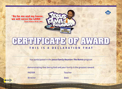 UMI VBS 2013 Jesus Family Reunion: The Remix Certificate of Award (package of 25)
