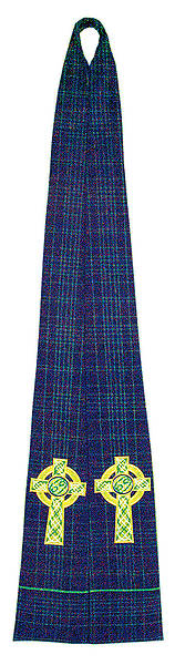 Stole Clergy Tartan Green Cord with Celtic Cross