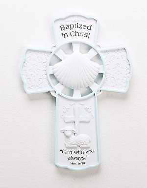 Picture of Baptized in Christ  Wall Cross Blue 7.75""
