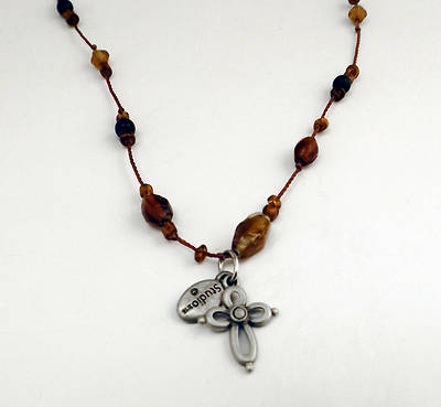 Topaz & Amber Pendant Pewter Open Cross Necklace