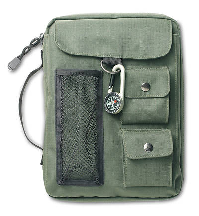Compass Canvas Extra Large Olive Green Book & Bible Cover [With Compass]