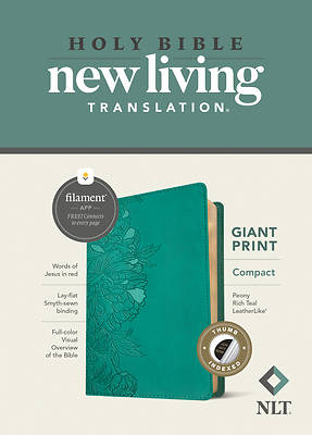 Picture of NLT Compact Giant Print Bible, Filament Enabled Edition (Red Letter, Leatherlike, Peony Rich Teal, Indexed)
