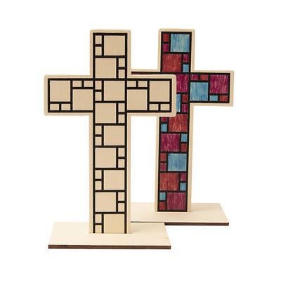 Picture of Vacation Bible School (VBS) 2021 Discovery on Adventure Island Wooden Tabletop Cross (Pkg of 12)