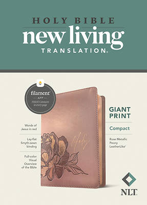 Picture of NLT Compact Giant Print Bible, Filament Enabled Edition (Red Letter, Leatherlike, Rose Metallic Peony)